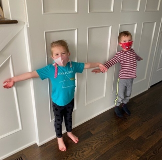 Children against door social distancing due to covid-19