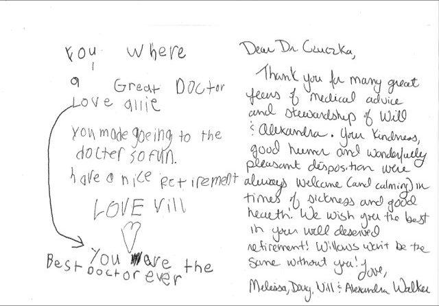 Letter of Appreciation Dr. Czuczka - Willows Pediatrics