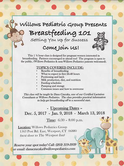 New Breastfeeding Flyer - Willow's Pediatrics 2017-2018