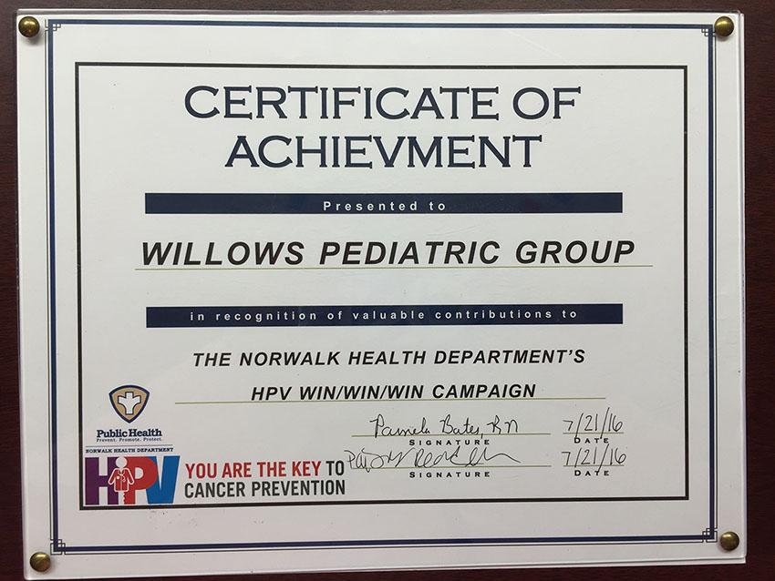 Willow's Pediatrics Certificate of Achievement - HPV Win/Win/Win