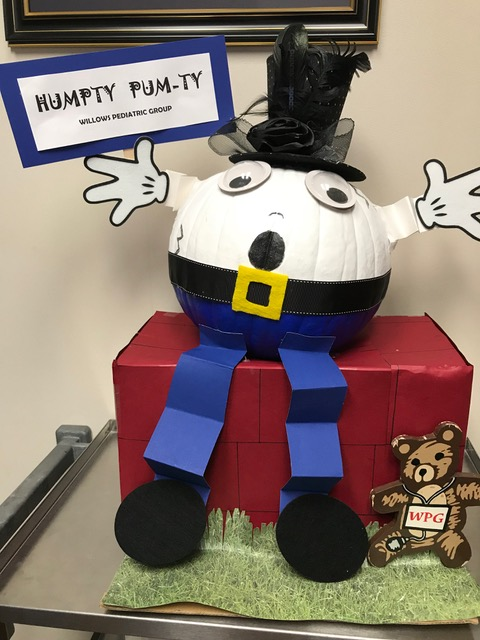The Halloween pumpkin at Willows Pediatrics
